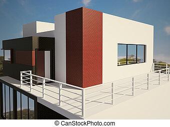 moderne, particulier, huisbuitenkant, 3d