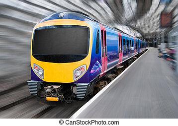 moderne, passager, banlieusard, transport, train, à, ternissure mouvement