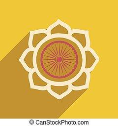 moderne, pictogram, schaduw, plat, lang, lotus