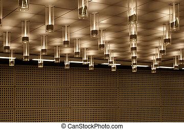 moderne, plafond, verlichting