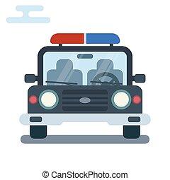 moderne, plat, spotprent, illustratie, van, voorkant, bovenkant, van, stylized, politie, auto.