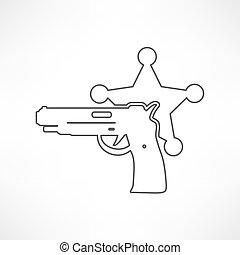 moderne, politie, vrijstaand, illustratie, pictogram