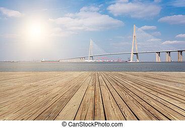 moderne, pont, sur, les, yangtze rivière, à, sunset.