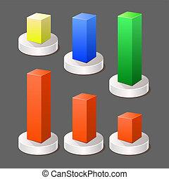 moderne, résumé, 3d, diagramme, infographic, couleur, elements., vecteur