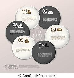 moderne, résumé, papier, cercle, infographic, éléments