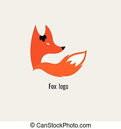 moderne, renard, fond, orange, blanc, logo.