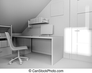 moderne, rendre, lieu travail, intérieur, maison, 3d