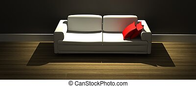moderne, rendre, sofa, rouges, 3d, oreillers
