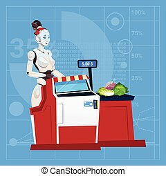 moderne, robot, vrouwlijk, werken, in, het winkelen...