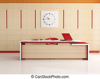moderne, rouge blanc, bureau, -rendering