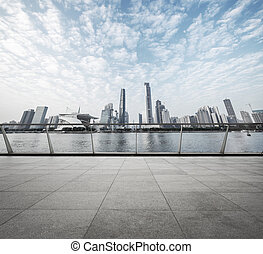 moderne, route, à, horizon, et, cityscape, fond