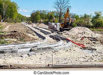 moderne, route, nouveau, construction