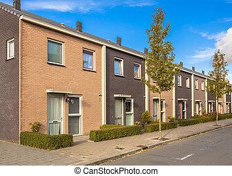 urbain trottoir rue haie pays bas suburbain moderne. Black Bedroom Furniture Sets. Home Design Ideas