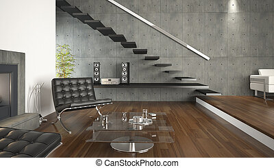 moderne rum, kald, konstruktion, interior