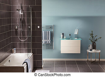moderne, salle bains, intérieur