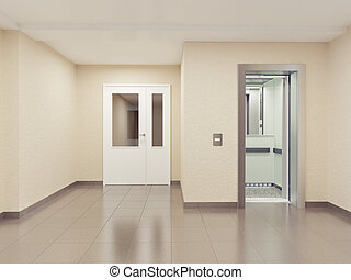 moderne, salle, interior.