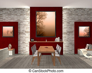 moderne, salle manger, intérieur