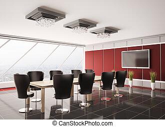 moderne, salle réunion, à, lcd, intérieur, 3d