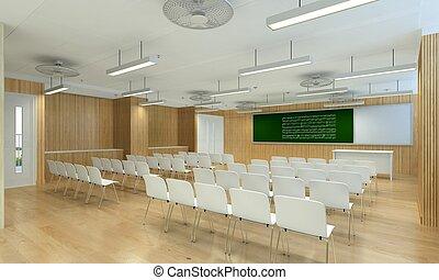 moderne, salle réunion, illustration, 3d