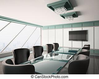 moderne, salle réunion, intérieur, 3d