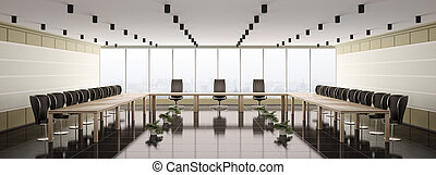 moderne, salle réunion, intérieur, panorama, 3d