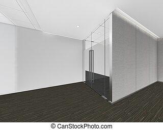 moderne, salle vide, 3d, render, conception intérieur, railler, haut, illustration