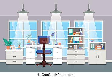 moderne, scène, bureau, patron