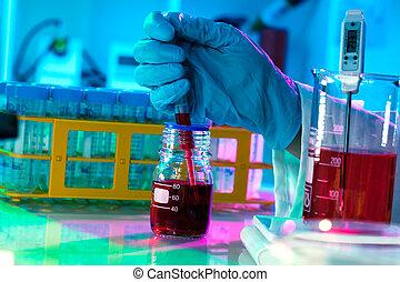 moderne, scientifique, travail, lab., danger, préparation, ...