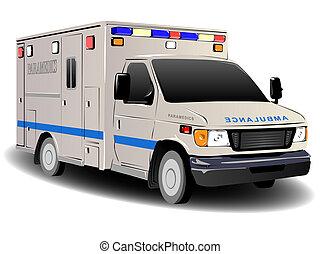 moderne, services secours, ambulance, illustration