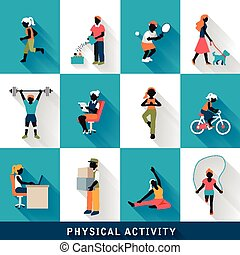 moderne, set, activiteit, lichamelijk, iconen