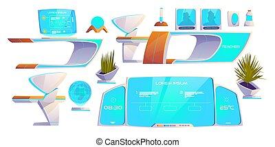 moderne, set., fournitures, futuriste, remplir, classe
