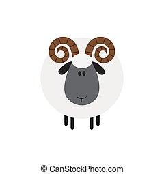 moderne, sheep., ontwerp, plat, ram