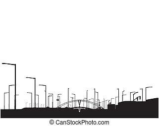 moderne, sihouette, vue ville