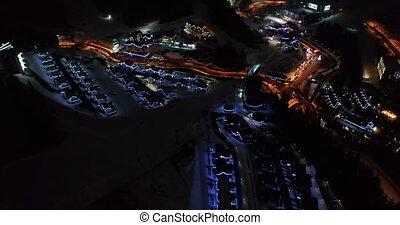 moderne, ski, maisons, populaire, montagne, aérien, en avant...