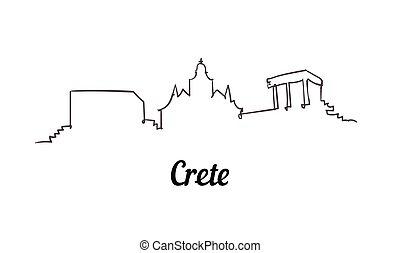 moderne, skyline., ligne, minimalistic, crète, style, simple, une, vector.