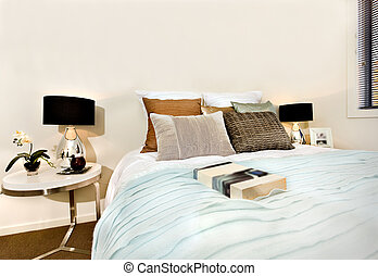 Blauwe , stijl, classieke, kleuren, luxe, slaapkamer, interieur ...