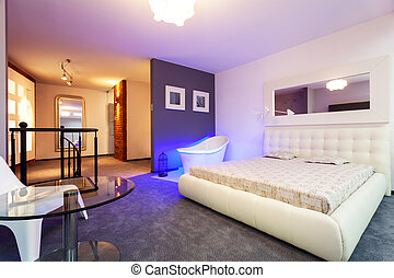 Moderne, entresol, slaapkamer. Panoramisch, moderne,... beeld - Zoek ...