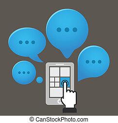 moderne, smartphone, met, groep, van, toespraak, wolken