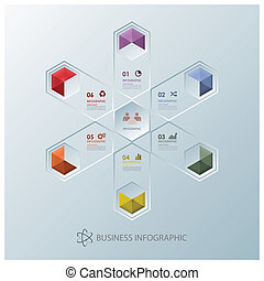 moderne, splitsing, zeshoek, zakelijk, infographic, ontwerp,...