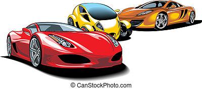 moderne, sportende, auto's, (my, origineel, design)