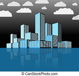 moderne, stad, district., gebouwen, in, perspectief