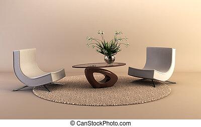 moderne, stijl, salon, kamer