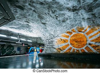 moderne, stockholm, underjordisk, tog station, sweden., under jorden, tunne