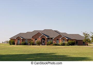 moderne, store, ranch, firmanavnet, mursten hus