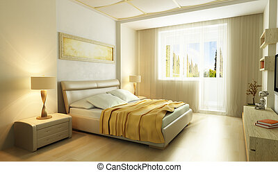 moderne, style, chambre à coucher, intérieur, 3d