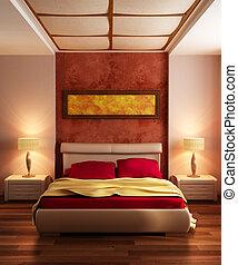 moderne, style, chambre à coucher, intérieur, 3d, rendre