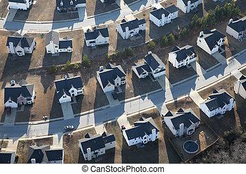 moderne, suburbain, maisons, aérien