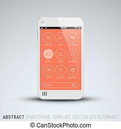moderne, téléphone portable, à, plat, interface utilisateur