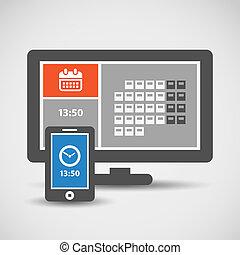 moderne, téléphone portable, et, moniteur, à, résumé, carreau, interface