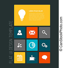 moderne, téléphone portable, plat, interface utilisateur